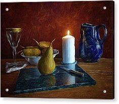 Pears By Candlelight Acrylic Print by Mark Fuller