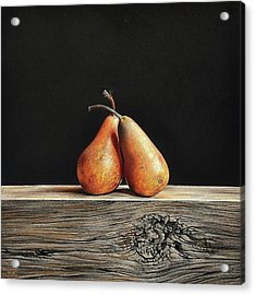 Acrylic Print featuring the drawing Pears by Elena Kolotusha