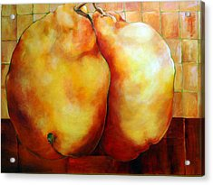 Pears In Love Acrylic Print by Nadine Dennis