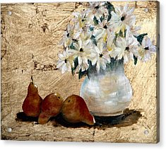 Pears On Gold Acrylic Print by Merle Blair