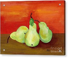 Pears Still Life Acrylic Print by Ann Gordon