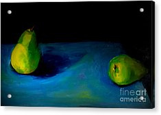 Acrylic Print featuring the painting Pears Unpaired by Daun Soden-Greene