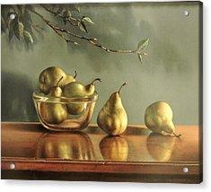 Pears Acrylic Print by William Albanese Sr