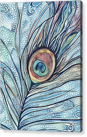 Pea's Feather Acrylic Print by Tamara Phillips