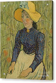 Peasant Girl In Straw Hat Acrylic Print by Vincent van Gogh