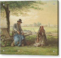 Peasants Resting Acrylic Print by Jean-Francois Millet