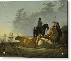 Peasants With Four Cows By The River Merwede Acrylic Print