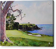 Pebble Beach Gc 5th Hole Acrylic Print by Scott Mulholland