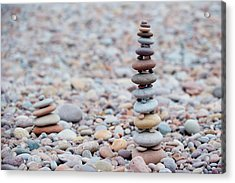 Pebble Stack II Acrylic Print by Helen Northcott