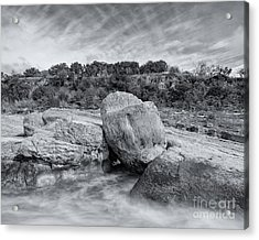 Pedernales River Falls In Black And White - Texas Hill Country Acrylic Print by Silvio Ligutti