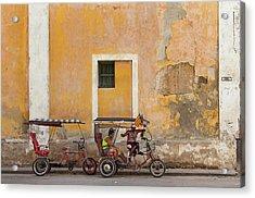 Acrylic Print featuring the photograph Pedicabs At Convento De Santa Clara Havana Cuba by Charles Harden