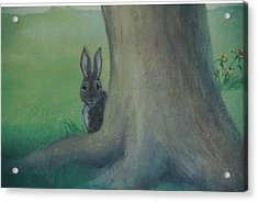 Peek A Boo Behind The Tree Acrylic Print