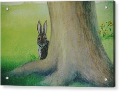 Peek-a-boo Bunny Acrylic Print