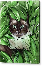 Acrylic Print featuring the painting Peek A Boo Siamese Cat by Dora Hathazi Mendes