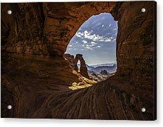 Peeking Through A Sandstone Keyhole Acrylic Print