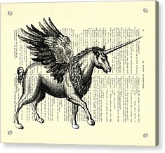 Pegasus Black And White Acrylic Print