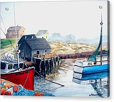 Acrylic Print featuring the painting Peggy's Cove Harbour by Patricia L Davidson