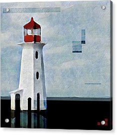 Acrylic Print featuring the mixed media Peggys Cove Lighthouse Painterly Look by Carol Leigh