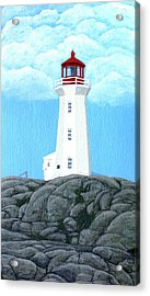 Peggy's Cove Lighthouse Painting Acrylic Print by Frederic Kohli