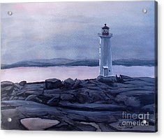 Acrylic Print featuring the painting Peggy's Cove Lighthouse  by Patricia L Davidson