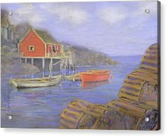 Peggy's Cove Lobster Pots Acrylic Print by Ian  MacDonald