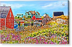 Peggy's Cove Wildflower Harbour Acrylic Print