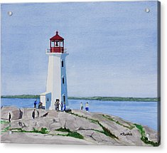 Peggy's Point Lighthouse Acrylic Print by Mike Robles