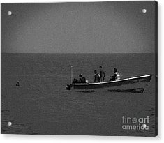 Pelican And The Fishing Boat Acrylic Print