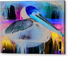 Acrylic Print featuring the mixed media Pelican by Anthony Burks Sr