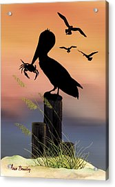 Pelican At Sunset Acrylic Print by Anne Beverley-Stamps
