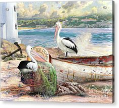 Acrylic Print featuring the digital art  Pelican Cove by Trudi Simmonds
