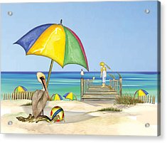 Pelican Under Umbrella Acrylic Print by Anne Beverley-Stamps