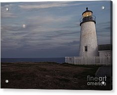 Pemaquid And Full Moon Acrylic Print by Timothy Johnson