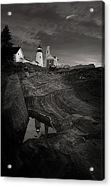 Pemaquid Lighthouse At Dawn Black And White Acrylic Print