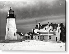 Pemaquid Point Lighthouse And Museum In Winter Monochrome  Acrylic Print