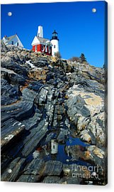 Pemaquid Point Lighthouse Reflection - Seascape Landscape Rocky Coast Maine Acrylic Print by Jon Holiday