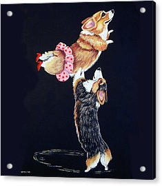 Pembroke Welsh Corgi Her Red Shoes Acrylic Print by Lyn Cook