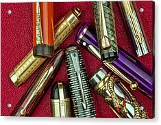 Pen Caps Still Life Acrylic Print by Tom Mc Nemar