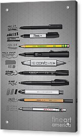 Pen Collection For Sketching And Drawing Acrylic Print by Monkey Crisis On Mars
