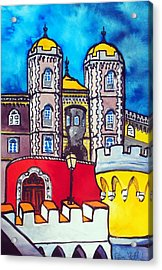 Pena Palace In Sintra Portugal  Acrylic Print by Dora Hathazi Mendes