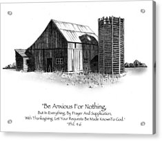 Pencil Drawing Of Old Barn With Bible Verse Acrylic Print by Joyce Geleynse