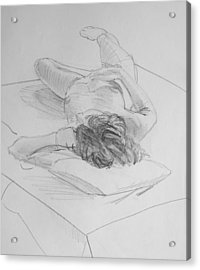 Pencil Female Nude Lying On Back  Acrylic Print