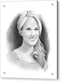 Pencil Portrait Of Carrie Underwood Acrylic Print by Joyce Geleynse