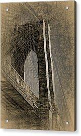 Pencil Sketch Of The Brooklyn Bridge Acrylic Print