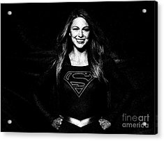 Pencil Study Of Supergirl - Melissa Benoist Acrylic Print