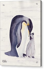 Penguin And Baby Acrylic Print by Ken Powers