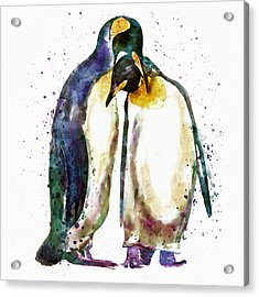 Penguin Couple Acrylic Print by Marian Voicu