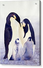 Acrylic Print featuring the painting Penguin Family by Laurel Best