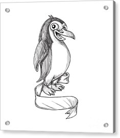 Penguin Ribbon Side Tattoo Acrylic Print