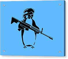 Penguin Soldier Acrylic Print by Pixel Chimp